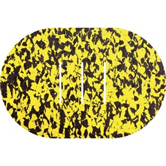 Tapete de Banheiro Oval Rubberkap Formas 40x60cm Amarelo E Preto - Kapazi