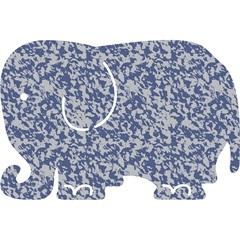 Tapete Rubberkap Elefante 40 X 60 Cm Azul E Cinza - Kapazi