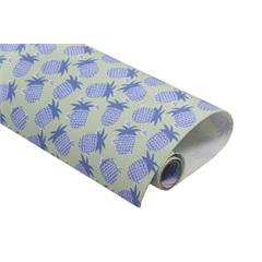 Tecido Adesivo Abacaxi Azul Verde - Panoah