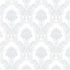 Tecido Adesivo Damasco Azul Rafael Fundo Branco - Panoah