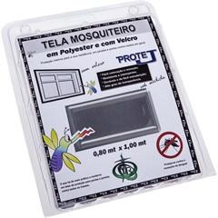 Tela Mosquiteiro em Poliéster Protej com Velcro 80x100cm Cinza