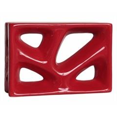 Tijolo Vazado 23x16x8 Rama Esmaltado Vermelho - Cerâmica Martins