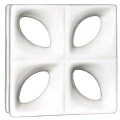 Tijolo Vazado 25x25x8 Folha Esmaltado Branco 1 Peça - Cerâmica Martins