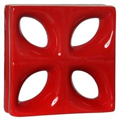 Tijolo Vazado Esmaltado Folha 25x25x8cm Vermelho - Cerâmica Martins