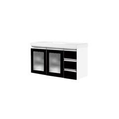 Toucador Slim 100cm Preto com Lavatório Branco E Porta de Vidro - Bumi