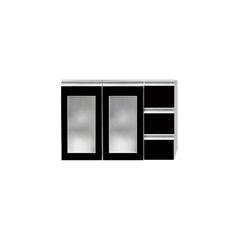 Toucador Slim 80 Preto sem Lavatório com Porta de Vidro - Bumi