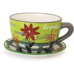 Vaso de Xícara de Cerâmica Verde Decorativo para Jardim 26cm   - Casanova