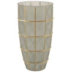 Vaso em Vidro Grande 32x16cm Fendi E Dourado - Mart
