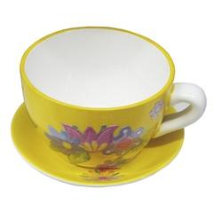 Vaso Xícara Cerâmica Amarelo Decorativa para Jardim 19cm - Casanova