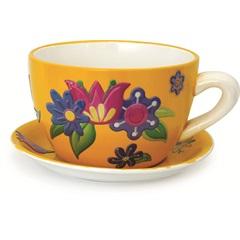 Vaso Xícara Cerâmica Amarelo Decorativa para Jardim 26cm - Casanova