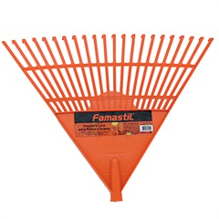Vassoura Plástica Laranja para Folhas com Cabo 156cm - Famastil