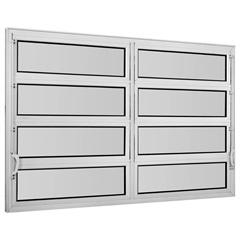 Vitrô Basculante em Alumínio Vidro Mini Boreal Una Branco 2 Seções 80x120cm        - Casanova