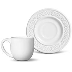 Xícara de Café com Pires Tripoli Branco - Porto Brasil Cerâmica