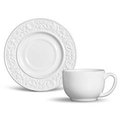 Xícara de Chá Baroque Branco 160ml - Porto Brasil Cerâmica