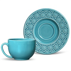 Xícara de Chá Manish Azul Poppy 197ml - Porto Brasil Cerâmica