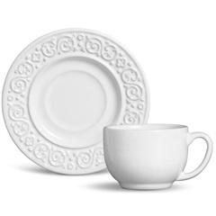 Xícara de Chá Tripoli Branco 160ml - Porto Brasil Cerâmica