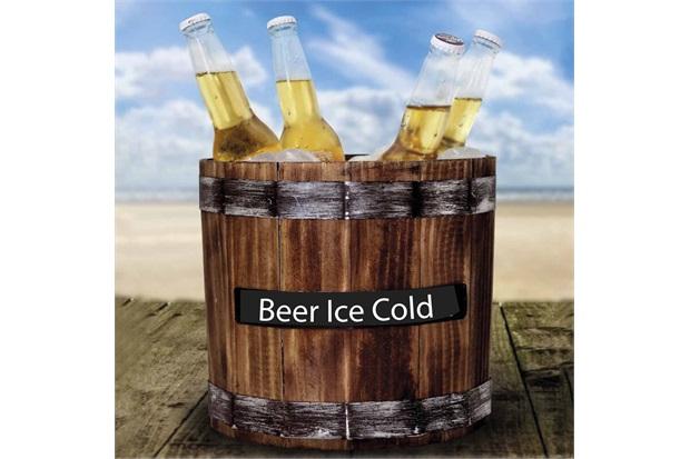 Balde de Gelo em Madeira Beer Ice Cold 23x27cm Madeira Rústica - Império Decore