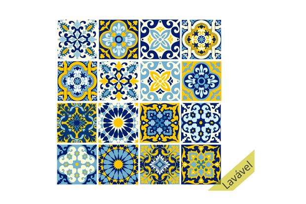 Adesivo de Azulejo 15x15 Modelo Lisboa com 16 Peças - Dona Cereja