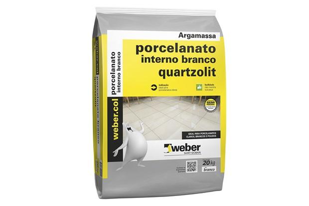 Argamassa Colante para Porcelanato Interno Branco Saco Plástico 20kg - Quartzolit