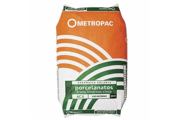 Argamassa para Porcelanato Interno Cinza 20 Kilos - Metropac