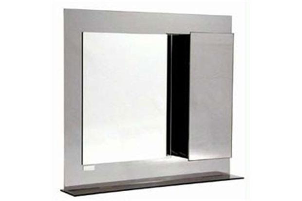 Armário em Aço Inox com Espelho Fumê 74x65cm Ref Ab130  H Chebli  C&C -> Armario Banheiro Aco Inox
