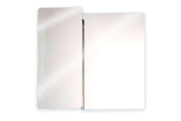 Armário em Aço Inox com Espelho Prata 53x50cm Ref Pr500  H Chebli  C&C -> Armario Banheiro Aco Inox