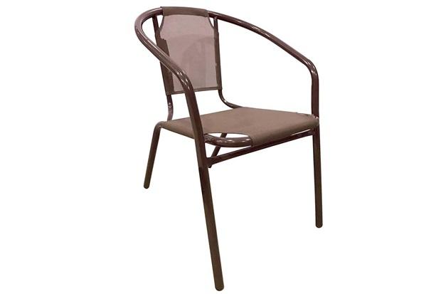 Cadeira Aço com Tecido Marrom - Importado