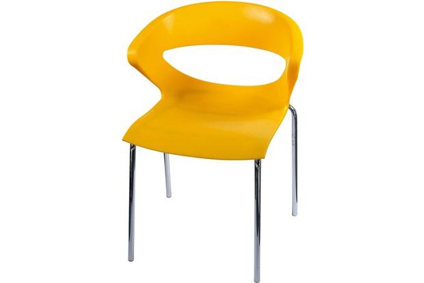Cadeira em Polipropileno Beth Amarela E Cromada - Importado