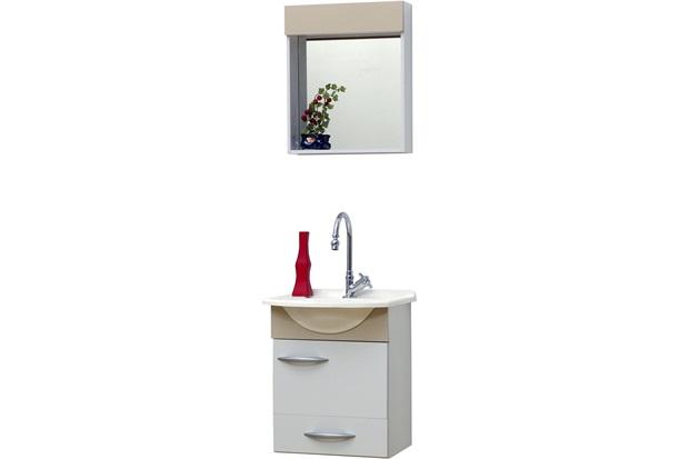 Conjunto de Toucador E Armário Belle 45 Cm Branco E Bege  Bonatto  C&C -> Armario De Banheiro Cec