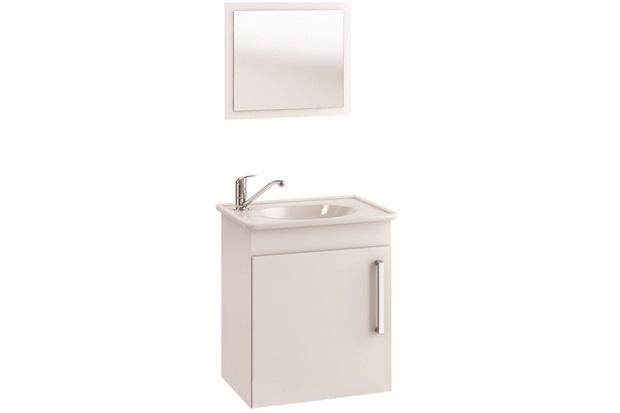 Conjunto Gabinete E Espelheira em Mdf com Tampo Viena Branco - MGM Móveis