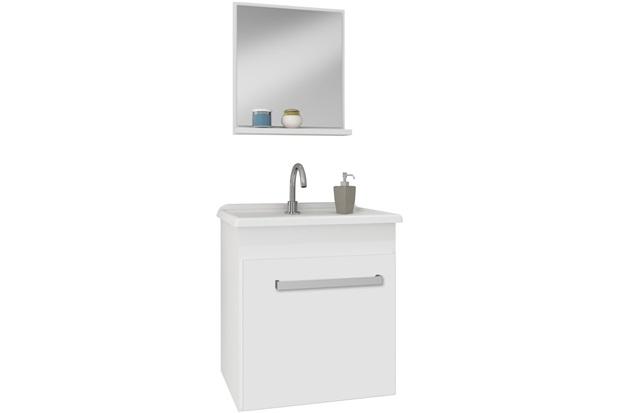 Conjunto Gabinete Suspenso Smart 400 Branco  Gaam  C&C -> Armario De Banheiro Gaam