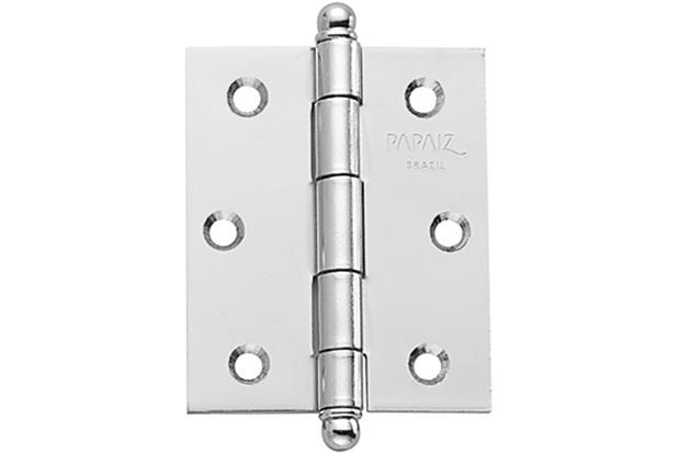 """Dobradiça para Porta em Aço sem Anel 3x2.1/2"""" Cromado - Papaiz"""