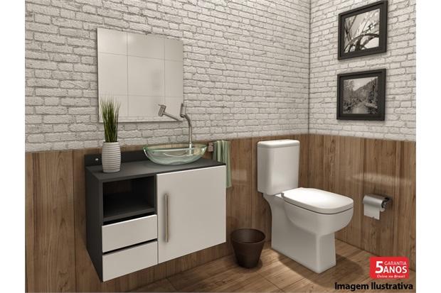 Gabinete Acrux para Banheiro com Cuba em Resina E Espelho 50x50cm  VTEC  C& -> Cuba Banheiro Transparente