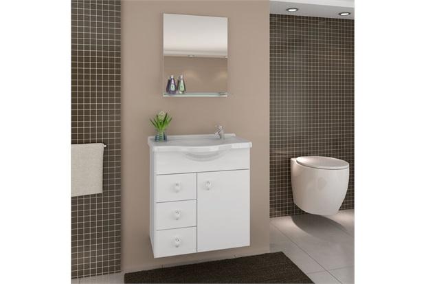 Gabinete Astro Branco 50 Cm para Banheiro com Tampo E Espelho  Darabas  C&a -> Armario De Banheiro Com Pia Ferreira Costa