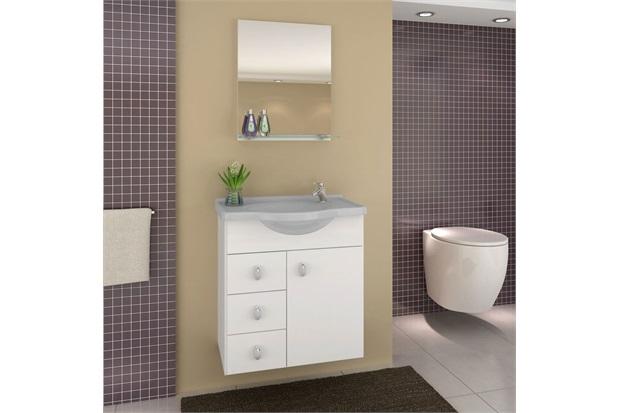 Gabinete Astro Cinza 50 Cm para Banheiro com Tampo E Espelho  Darabas  C&C -> Tampo Para Pia De Banheiro