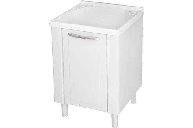 Gabinete em Aço com Tanque Quality Branco 60cm  Cozimax  C&C -> Gabinete De Banheiro Na Telha Norte