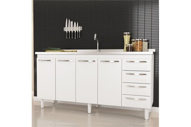 Gabinete em Aço para Pia de 180cm Quality Branco - Cozimax