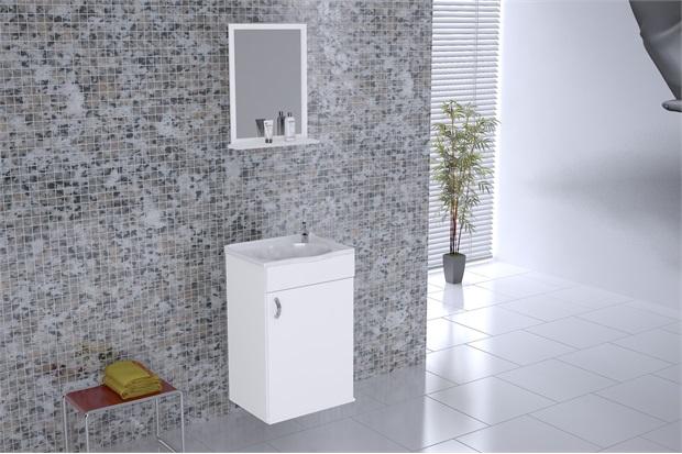 Gabinete Kit Verona Suspenso com Espelho E Pia Branco 39 Cm Ref 528802  A -> Gabinete De Banheiro Aj Rorato