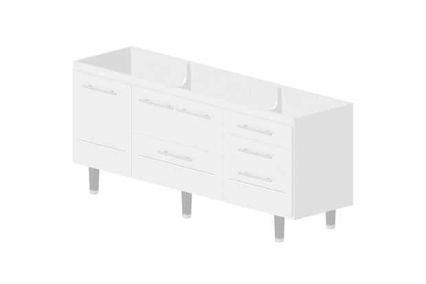 Gabinete Life para Pia 200cm Branco  Bonatto  C&C -> Gabinete De Banheiro Bonatto