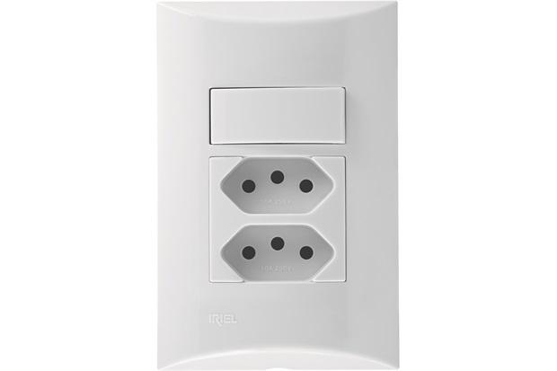 Interruptor Simples + 1 Tomada Duplex 10a 4x2  - Iriel