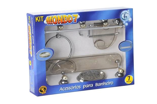 Kit de Acessórios para Banheiro Mondo 7 Peças Cromado/Dourado/Fume - Stamplas
