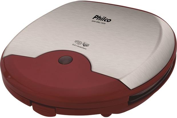 Mini Grill Antiaderente 110v Inox Vermelho - Philco