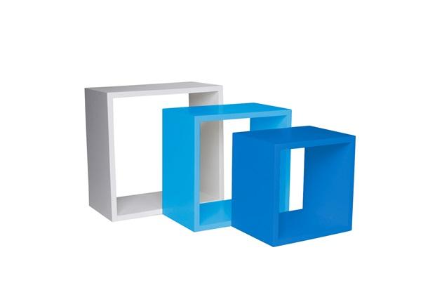 Nicho Trio Branco, Azul Claro E Azul Escuro 35cm  Decorprat  C&C -> Nicho Banheiro Cec