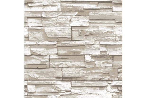 Papel de Parede Estilo Natural Pedra Bege E Branco 0.53x10m - Colorful
