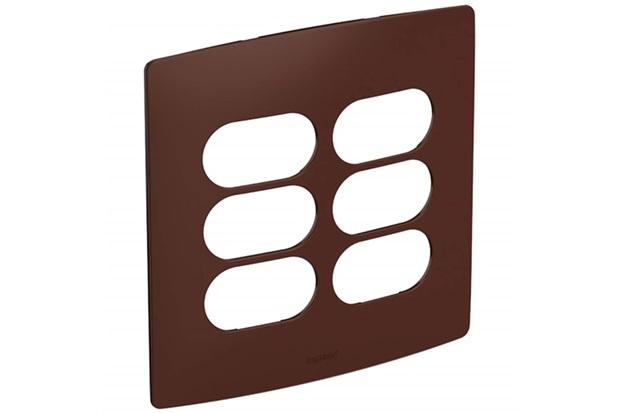 Placa 3+3 Postos Separados 4x4 Nereya Moscada Ref. 663432 - Pial Legrand