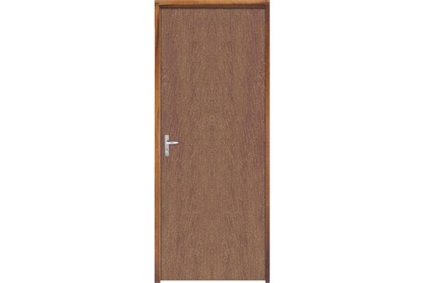 Porta Semi Oca Montada Direita Imbuia Lisa 210x82cm com Batente de 9cm Natural - Sidney Esquadrias