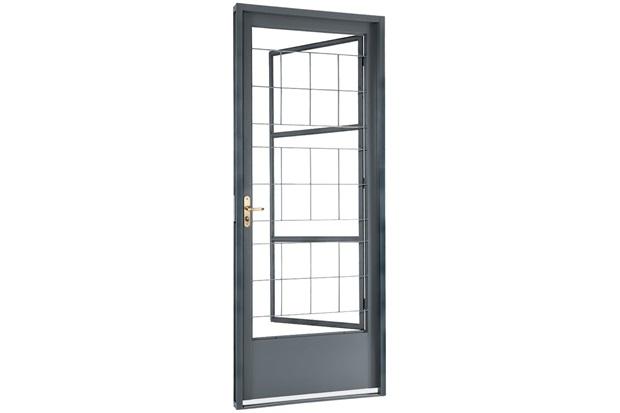 Porta Social de Abrir com Grade Quadriculada 217 X 87 X 8cm Direita - Ref: 66614700      - Sasazaki