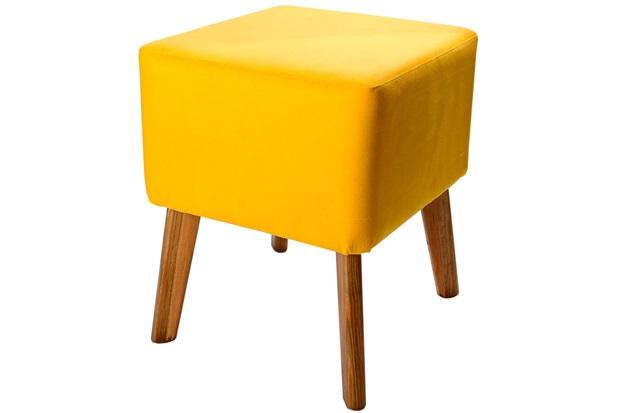 Puff com Pés de Madeira Quadrado 37x45cm Amarelo - Decorglass