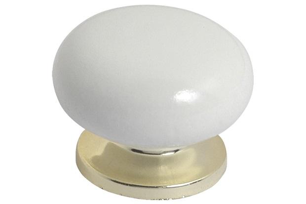 Puxador em Madeira com Base Plástica Praiano Branco E Dourado Pequeno - Fixtil