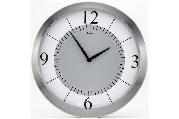 Relógio de Parede em Alumínio Redondo Prime 35,5cm Alumínio E Branco - Zdecor